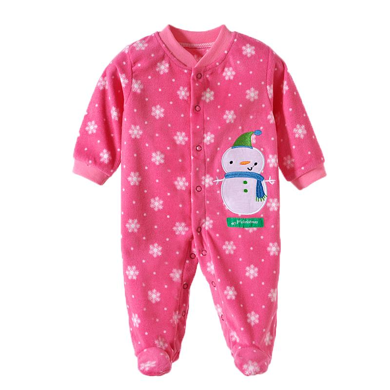 - 0-12M Autumn Fleece Baby Rompers Cute Pink Baby Girl Boy Clothing Infant Baby Girl Clothes Jumpsuits Footed Coverall V20C - MKBCROGL001P20 / 12M  jetcube