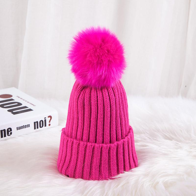 - 0926XB Skullies & Beanies Kid Solid Hats Real pompom hat winter hats for women knitted hat beanie women girls 10 colorst XB-A415 - Rose / Children  jetcube