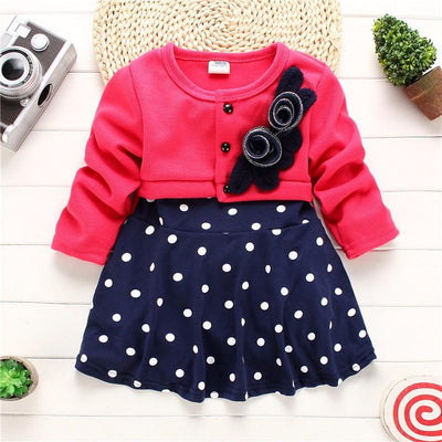 - 2016 Fashion Spring Autumn Infant Dress Baby Girl Dress Long Sleeve Party Birthday Dot Print Girls Kids Children Dresses JW0140 - as picture dress / 10-12 months  jetcube