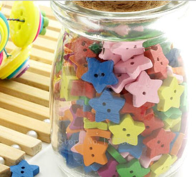 - 100 Pcs 13mm Cute Star Sewing Wooden Buttons ,2 Holes, for Kids, Scrapbooking Crafts , 7NK16 -   jetcube