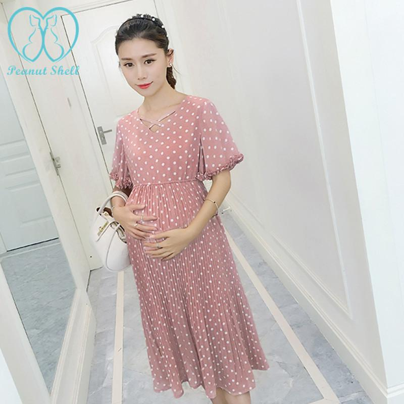- 0071# Sweet Pink Polka Dot Pleated Chiffon Maternity Long Dress 2016 Summer Slim Clothes for Pregnant Women Pregnancy Clothing -   jetcube