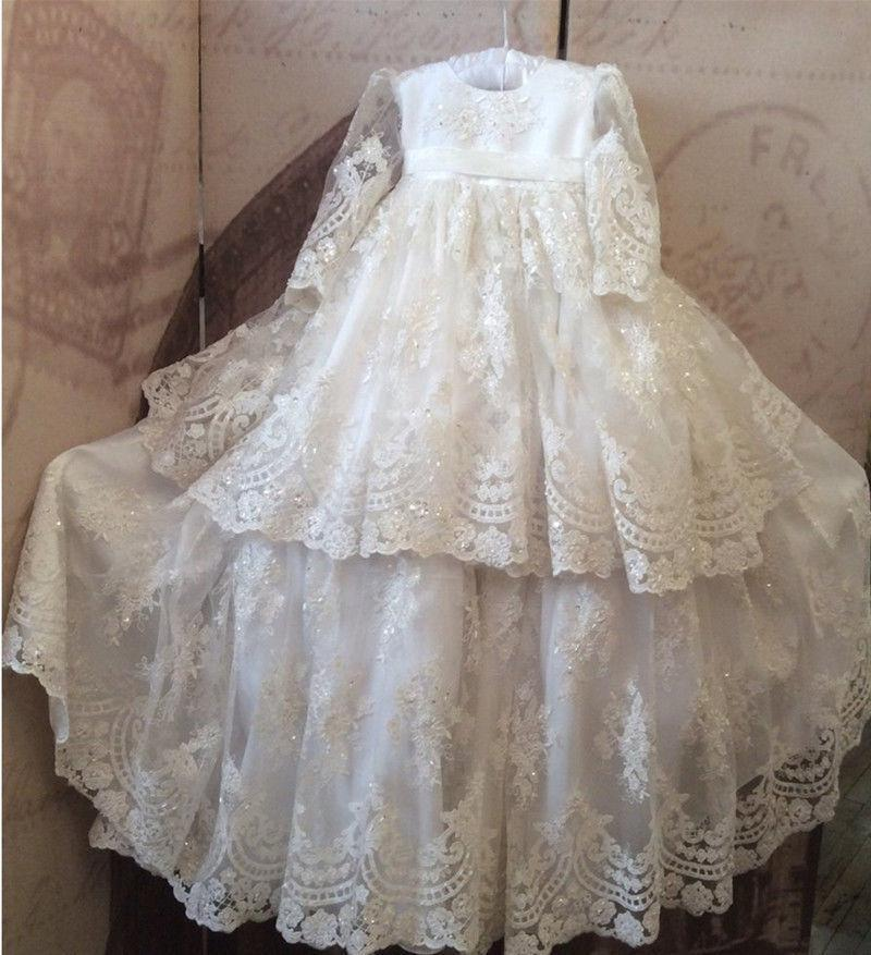 Vintage White Baby Girls Christening Gown Lace Beads Baptism Dress ...