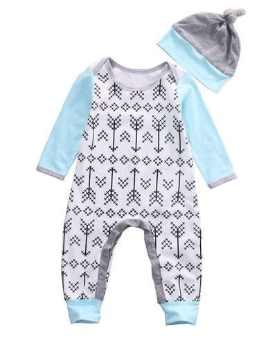 - 0-18M Newborn Baby Boys Girls Clothes Long Sleeve Arrows Cotton Romper + Hat 2pcs Bebes Clothing - White / 0-3 months  jetcube