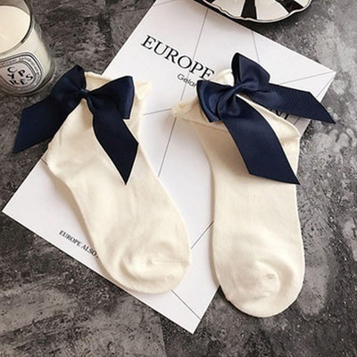 - 1 Pair Fashion Style Women Cotton Socks with Big Bow Solid Casual Female Short Socks Cute BowKnot chausette femme - White  jetcube