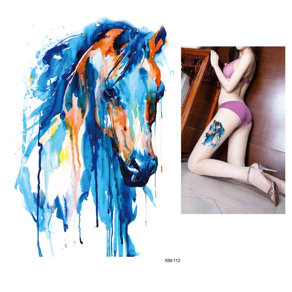 e65a1e240 1x DIY Body Art Temporary Tattoo Colorful Animals Watercolor Painting  Drawing Horse Butterfly Decal Waterproof