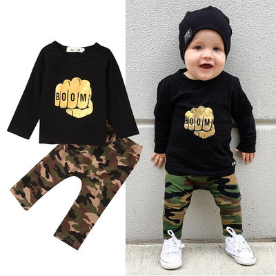 - 2016 Fashion Newborn Baby Boy Clothes Set Boom Long Sleeve T-shirt Tops Pant 2PCS Outfit Toddler Kids Clothing Set 0-4Y -   jetcube