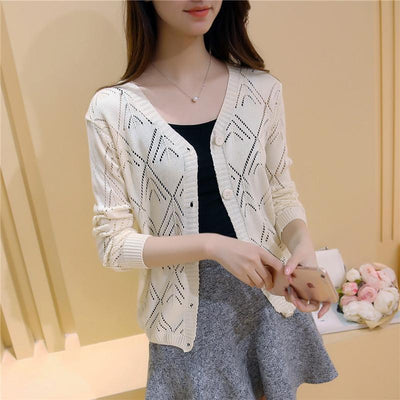 - 18 new women's Korean long sleeved knit cardigan collar hollow V simple air conditioning shirt female coat F1844 - long  beige / One Size  jetcube