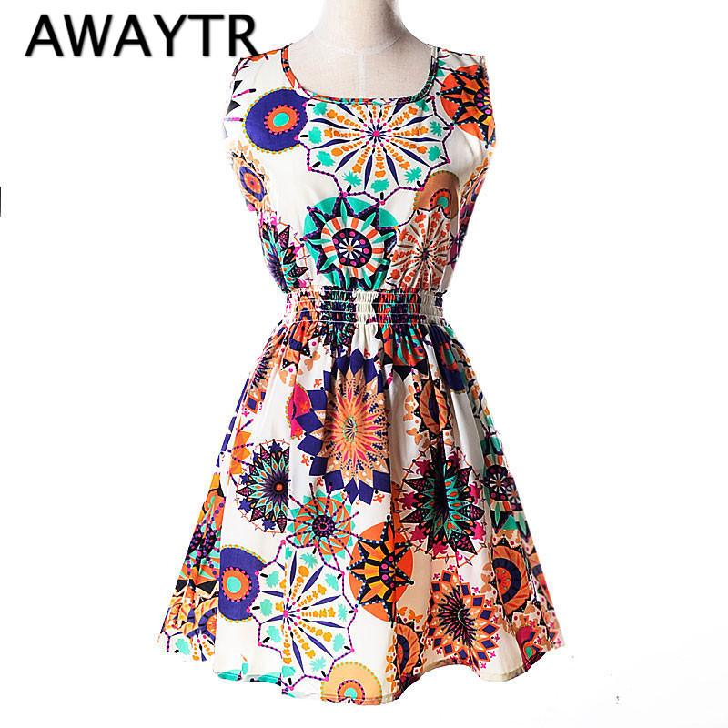 19 Colors 2018 New Summer Women Dress Casual Sleeveless Chiffon Feather Floral Print Dress Vestidos Femininos Beach Dresses