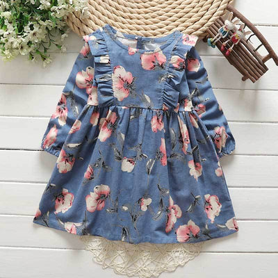 - 2-6y Autumn Girls Clothing 2017 Fall Girl Dress Ruffles Floral Children Dress Cotton Long Sleeve Kids Dresses Cute Girl Clothes - Blue / 2T  jetcube