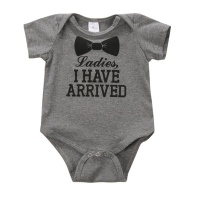 - 0-12Months Newborn Baby Kids Boys Girls Cotton Clothes Letter Print Romper Bodysuit Jumpsuit Clothing Outfit Sets - Gray / 12M  jetcube