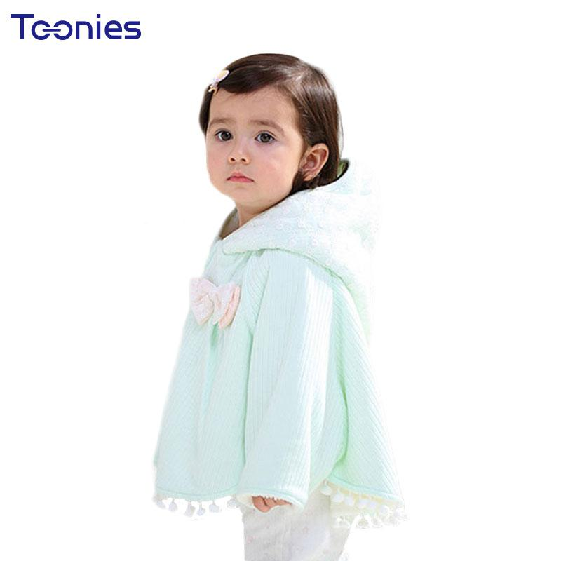 Babies Jackets 2018 Winter Coats Warm Cotton Princess Girl Cloak Bow Shawl Infant Outwear Girls Costume Loose Lace Hooded Parkas  UpCube- upcube