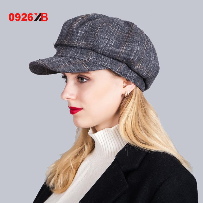 - 0926XB Berets Plaid Tweed Gatsby Newsboy Cap Women Khaki Wool Ivy Hat Golf Driving Flat Cabbie Flat Unisex Berets Hat XB-D603 - Grey  jetcube