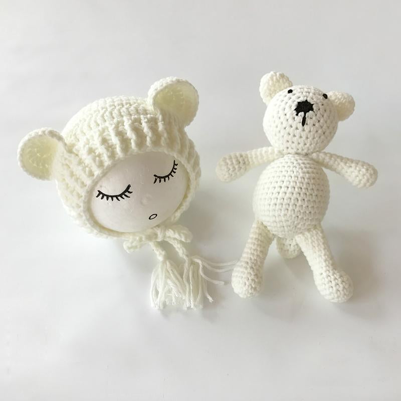 Newborn Photography Props Accessories Bear Hat Cap + Doll Sets ...