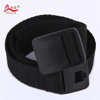 - 2.5cm webbing Waist Belt Candy Color Mens Womens Unisex Plain Webbing Canvas plastic Buckle Belt Personal Tailor - Black / 100cm  jetcube