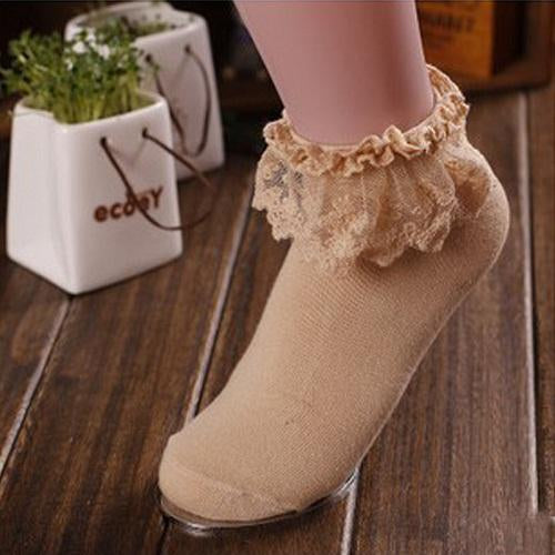 - 1 Pair 7 Colors Princess Girl Cute Sweet Women Ladies Vintage Lace Ruffle Frilly Ankle Socks CB - Khaki  jetcube