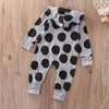 - 0-24M Newborn Baby Boy Girl Clothes Fashion Bebes Autumn Winter Warm Long Sleeve Dot Zipper Hooded Romper One Pieces Outfit -   jetcube