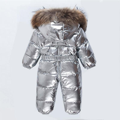 - -30 Degree Winter Baby Snowsuit White Duck Down Real Fur Infant Boys Jumpsuits Down Jacket Newborn Girls Outwear Coat Snow Wear -   jetcube