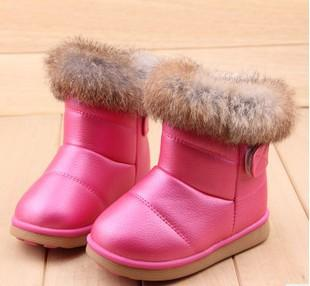 - 2016 fashion children shoes children boots snow boots girls boots cotton shoes leather - rose red design 2 / 10.5  jetcube