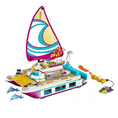 - 01038 Friends Sunshine Catamaran Dolphins Olivia Stephanie Girl Building Block Compatible with Legoe 41317 Brick Toy -   jetcube