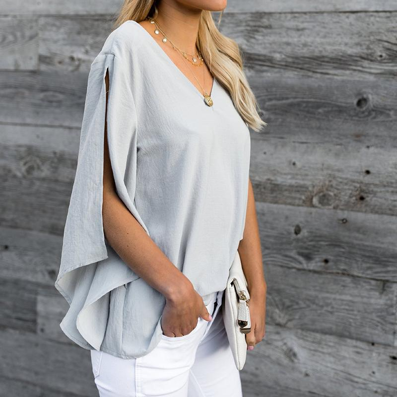 09faabe8f 2018 Fashion Bow Tie V Neck Chiffon Shirts Casual OL Long Sleeved Flounced Blouses  Summer Loose