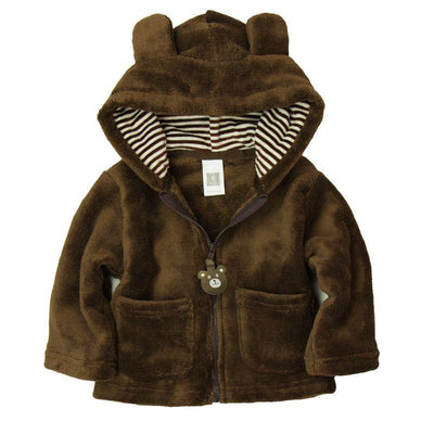 - 2014 spring autumn Coral velvet baby jacket/coat long-sleeved hooded infant boy girl carter thick tops - Brown / 0-3 months  jetcube