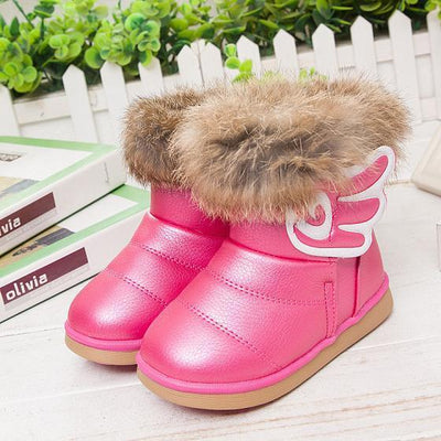 - 2016 fashion children shoes children boots snow boots girls boots cotton shoes leather - rose red / 10.5  jetcube