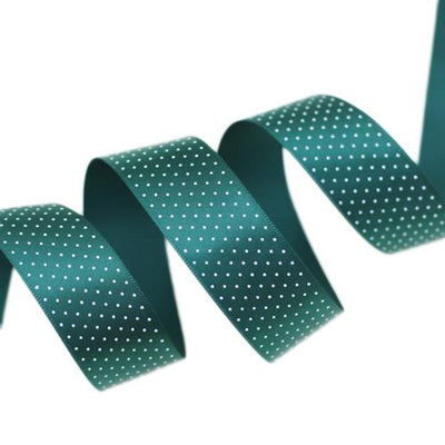 - (5 yards/lot) Small Dots Printed Satin ribbon lovely series ribbons wholesale (25mm&40mm) - Green / 25mm  jetcube