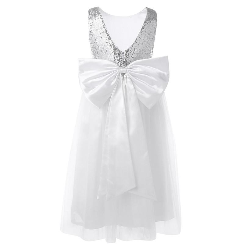 Tiaobug Baby Flower Girl Dress White Summer Formal Events First