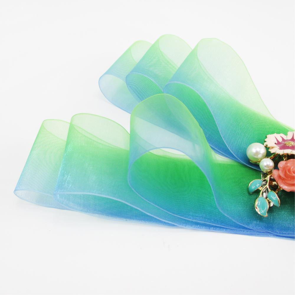 "- (5yds per roll) 1.5""(38mm) Gradient color organza ribbon high quality 5 yards,DIY handmade materials,wedding gift wrap,5Y49621 -   jetcube"