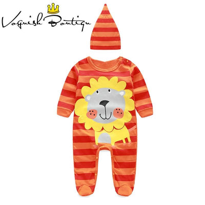 - (animal baby boy clothes) baby clothes romper cow/ panda/lion/ tiger long-sleeved romper with cute hat -   jetcube