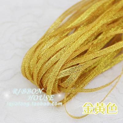 - (20 meters/lot) 1/8'' (3mm) Flesh Pink Metallic Glitter Ribbon Colorful gift package wrapping Accessories DIY ribbons wholesale - Gold  jetcube