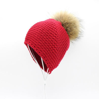 - 2016 Fashion Knitted Baby Hats Boy Winter Outdoor Ear Protection Beanies Caps Pom pom Real Fur Hat Kids -   jetcube