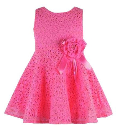 - 0-2 Years New Gift Summer Lace Vest Girls Dress Baby Girl Cotton Dress Chlidren Clothes Kids Party Clothing For Girls - Rose Red / 12M  jetcube