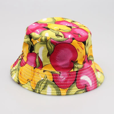- 2-6T Baby Cartoon Print Bucket Sun Hat Floral Children Summer Panama Caps Baby Girls Fisherman Straw Hat Kids Boys Topee cap -   jetcube