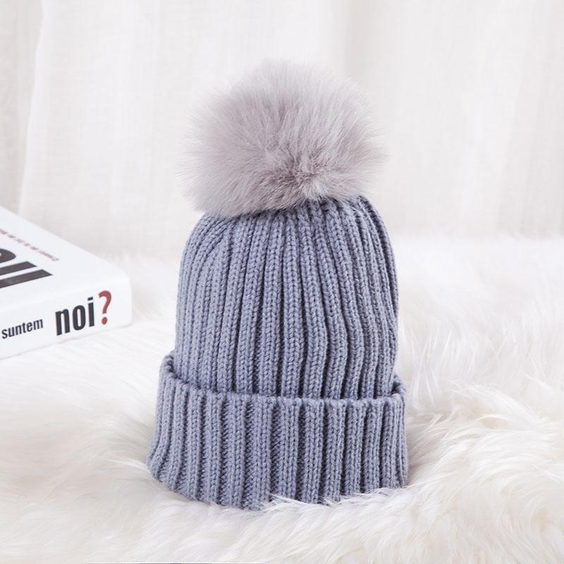 - 0926XB Skullies & Beanies Kid Solid Hats Real pompom hat winter hats for women knitted hat beanie women girls 10 colorst XB-A415 - Grey / Children  jetcube