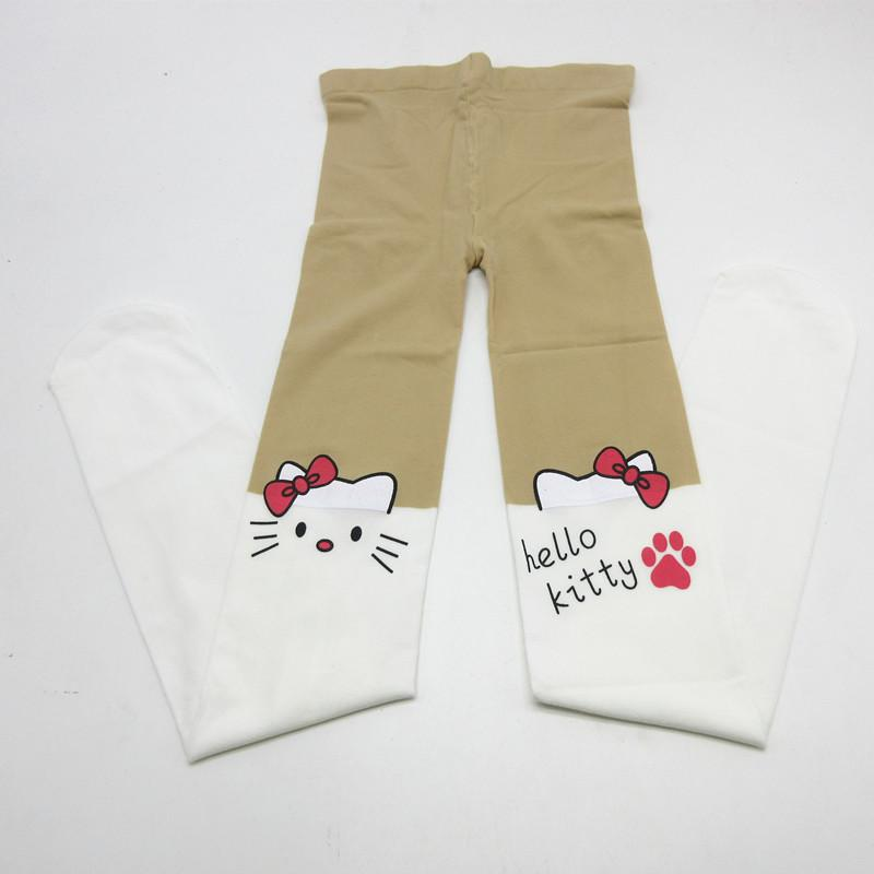 2018 Kids Cute Pantyhose tight for girls Lovely hello Bunny Kitty Velvet Stockings Cartoon Patchwork Kids tight leg girls tights