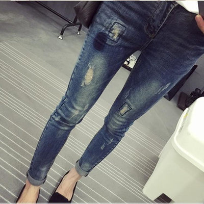 371aa9729f8 Maternity Fashion Hole Jeans Spring Plus Size Cotton Pregnant Clothing  Denim Pants Autumn Large Jeans Trousers
