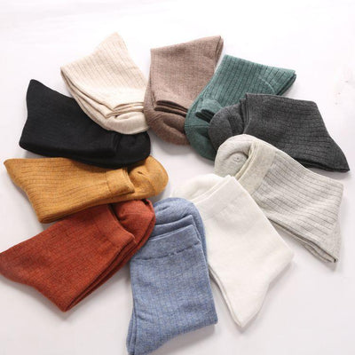 - 10 Solid colors Women Autumn Winter Thick Cute 100% Cotton Socks for Women Long Socks Good Quality EUR 35~38 -   jetcube