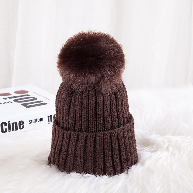 - 0926XB Skullies & Beanies Kid Solid Hats Real pompom hat winter hats for women knitted hat beanie women girls 10 colorst XB-A415 - Coffee / Children  jetcube