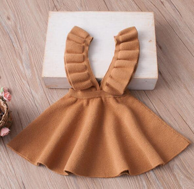 - 2-8Yrs Autumn Baby Girls Dress Fashion Girl Clothing Knit Sweater Kids Dresses for Girls Solid Sleeveless School Uniform Vestido - Orange / 2T  jetcube