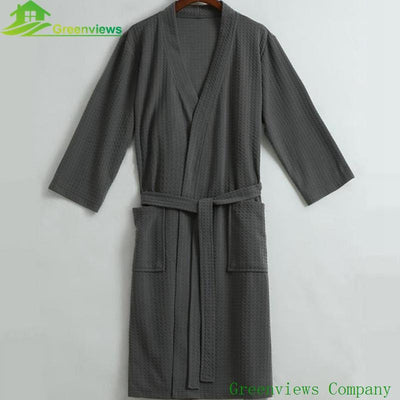 - (1PCS/Lot) Waffle bathrobe Unisex Women's bathrobe 100%cotton Dressing gown Size M,L,XL, dark blue/White/grey color -   jetcube
