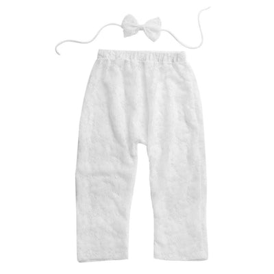 - 0-6 Month Newborn Baby Girls Photography Prop Lace Pant with Bowknot Headband Fashion Baby Long Pants Headband Outfits Set - White  jetcube