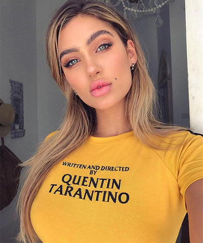 Momoluna New Quentin Tarantino Letter Printed Summer Tops for Women Casual Fitness T Shirt Femme Short Sleeve Tees Tops
