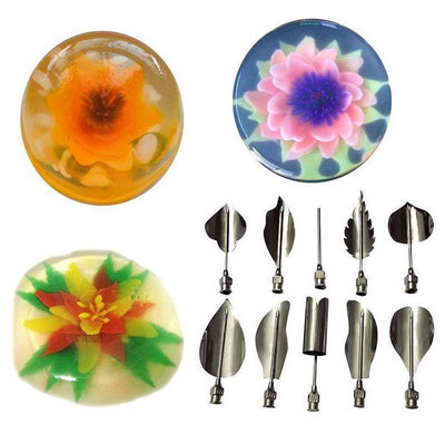 - 10 Pcs 3D Gelatin Jelly Art Pudding Flower Cake Decoration Mold Moulds Needle Tools -   jetcube