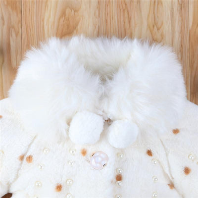- 0-3T Infant Kids Girls Clothes Hot sell Long Sleeve Fur Warm Coat Toddler Baby Pearl Fleece Jacket Outwear Girls Clothing -   jetcube