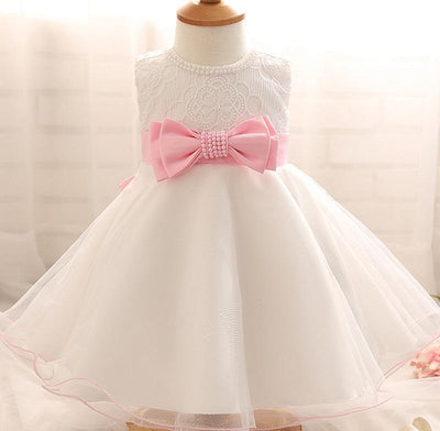 - 0-2Year Baby Girl Dress Newborn White Princess Dress Baby Wedding Dress 1 Year Baby Girl Birthday Dress Infant Christening Gown - White / 0-3 months  jetcube