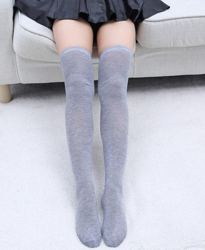 - 1 Pair 5 Solid Colors Fashion Sexy Warm Thigh High Over the Knee Socks Long Cotton Stockings For Girls Ladies Women -   jetcube