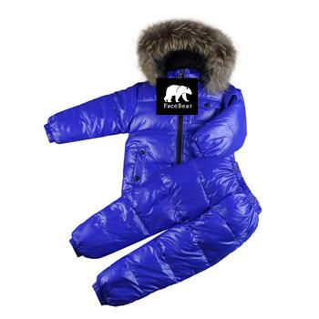 - -30 degree Russia Winter children's clothing girls clothes sets for new year's Eve boys parka jackets coat down snow wear - Blue / 2T  jetcube