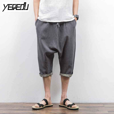 #1312 2017 Mens joggers Lightweight Pantalon large Mens harem pants Linen cotton Cross-pants Loose Chinese style Sarouel homme - Jetcube