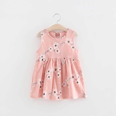 - 2-7y Girls Clothing Summer Girl Dress Children Kids Berry Dress Back V Dress Girls Cotton Kids Vest dress Children Clothes 2017 - pinkflower / 2T  jetcube